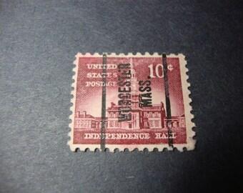 SALE - 1956 Worcester Massachusetts Precancel Stamp / Independence Hall - Philadelphia - Postage - Scott # 1044 - .65 Cent Ship, 1.25 Int'l