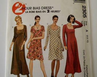 McCalls 2305 Sewing Pattern Bias Dress Pullover Long Sleeve Short Sleeve Length Variation U Neckline Size 6 8 10 UNCUT