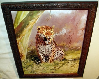 Leopard on Guard Cat Portrait 1978 Leonard Pearman Artist Large Vintage Lithograph Print Framed Home Decor Wall Hanging
