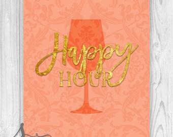 Happy Hour Typography Art Print, Bridal Shower Decor, Birthday Party Decor, Kitchen Art, Cocktail Drinks, Bar Sign, Kitchen Wall ART