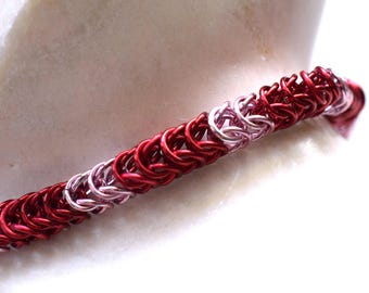 Chainmail bracelet, bright red and pink handmade chain mail bracelet, box chain sweet chainmaille jewelry made by misome