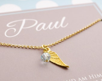 Christening necklace kids birthstone 925 gold plated
