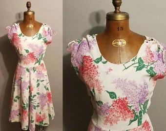 Vintage 1950's Floral Dance 50's Linen A-Line Flowers Scoop Neck Womens Dress - S