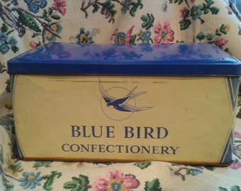 Yellow and Blue Vintage Blue Bird Toffee Tin