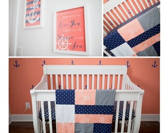 Baby blanket ,deer heads, anchors, peach (coral) and denim fabric.Navy minky