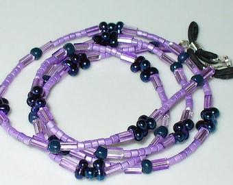 Necklace, bracelet, lilac, blue 68 cm (131)