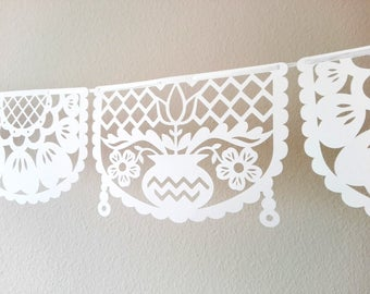 paper cut FLOWER garland picado style bounting party banner ready to hang ready made - set of 6