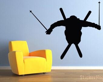 "Skier Ski Jumper Vinyl Wall Decal for Home Decor 35""x29"""
