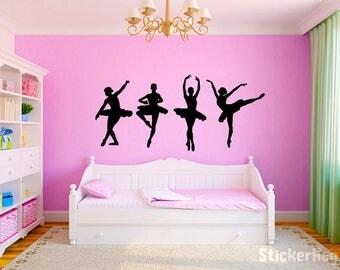 """Dancing Ballerinas Girls Nursery Room Vinyl Wall Decal Graphics 28""""x62"""" Bedroom Decor"""