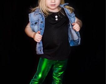 Dreaming Kids Green Metallic Leggings
