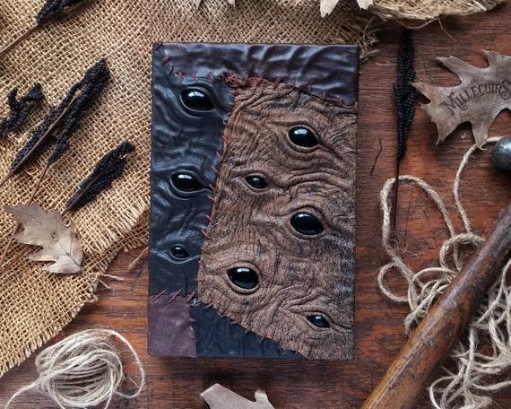 Strange creeper handmade leather book fantasy creepy by MilleCuirs