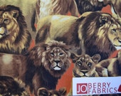 Lions from the Living Wonders Collection by Fabri-Quilt.  Quilt or Craft Fabric. Fabric by the Yard.