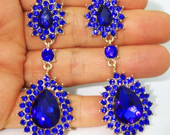 Blue Chandelier Earrings Rhinestone Crystal 2.8 inch Pageant Bridal Drag Prom