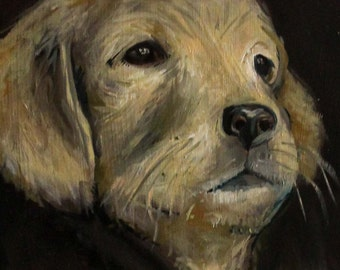 Dog Painting of a Golden Retriever - Original Oil Painting - OOAK