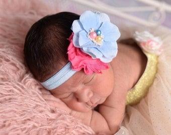 Yellow Pink Light Blue Headband , Blue Flower Headband Risettes Chavvy Flower Headbabd for Girl Toddlers  Babies