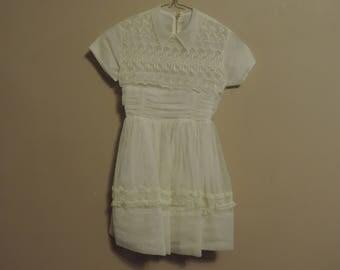 Vintage Sheer Embroidered Toddler Baptism Dress from 1950's Size 4