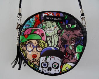 B-Movie Horror Black Round Handbag - Skull Zombie Monster Comic Book Bag Clutch