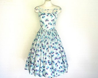1950s Dress SABA JRS CALIFORNIA Vintage White Blue Cotton Floral Print Sundress S Free Domestic and Discounted International Shipping