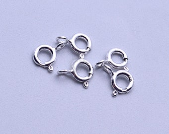 Sterling Silver Round Lobster Claw Clasp, 9x7mm Silver Necklace Clasp, Bracelet Clasp,  5pc (SS-90004)