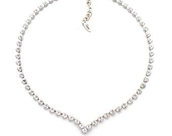 Swarovski Crystal V Shape Bridal Collar Necklace, Clear 5mm Crystals, Classy and Elegant, BRIDAL SENSATION, Special Occasion, FREE Shipping