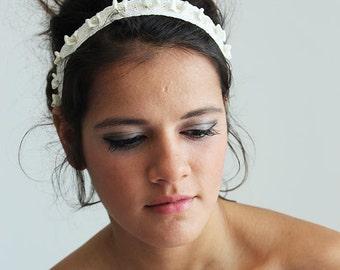 Lace Pearl Headband,  Rustic Wedding Headband, Lace Bridal  Headband, Lace Pearl Weddings Hair, Bridal Hair Accessories