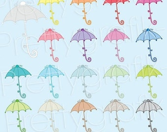 80% OFF SALE 19 umbrella clipart commercial use, vector graphics, digital clip art, digital images  - CL497