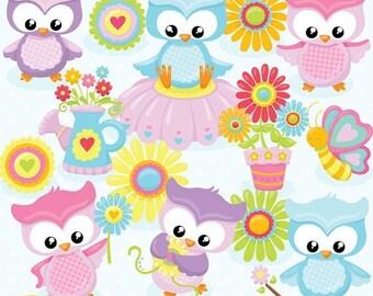 80% OFF SALE Spring owls clipart, clipart commercial use, vector graphics, digital clip art, digital images - CL818