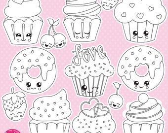 80% OFF SALE  Valentine cupcakes digital stamp commercial use, vector graphics, digital stamp,  - DS1056