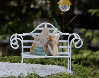 Fairy Garden Accessories, fairy figurine, lying on bench, miniature garden fairy, handmade miniature glow in the dark flower lantern