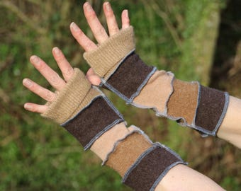 Upcycled Armwarmers, Wristwarmers, Fingerless Gloves. Handmade in UK from Recycled Wool Knitwear. Earthy Brown. Autumn. Ethical fashion OOAK