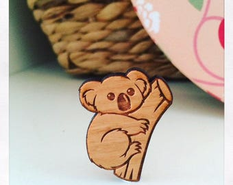 Laser Cut Wooden Koala Brooch