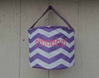 EASTER bucket, easter basket, Chevron Basket, Purple Chevron