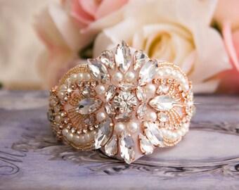 Crystal Pearl Bridal Cuff Bracelet, Bridal Pearl Rhinestone Cuff, Jeweled Pearl Wedding Bracelet, Bridal Wedding Cuff Bracelet, Rose Gold