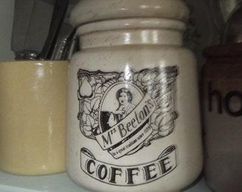 Mrs Beeton's Ceramic Coffee Container, Coffee Storage , Coffee Jar,Mrs Beetons Vintage Storage