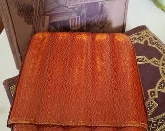 Beautifully aged Vintage Leather Cigar Case  , Rust Leather Cigar Case , 5 Finger Cigar Case, Corona / Petit Corona Pocket Cigar Case