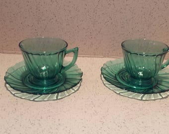 Jeannette Glass Ultramarine Swirl Cups and Saucers - Set of 2