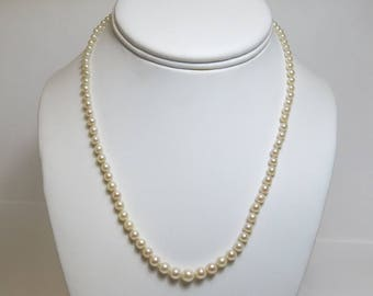 Vintage Akoya Cultured Pearl Necklace/ 16.5 Inches In Length/Graduated