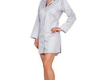 PJ Shirt Nightwear for Woman, Grey Cotton with Contrasting Piping, Lounge Wear -Sleep Wear Boyfriend Shirt, Cotton Nightdress, Gift for Her