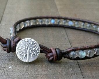 labradorite leather wrap bracelet fine silver tree of life earthy bracelet boho bracelet stacking bracelet single leather wrap