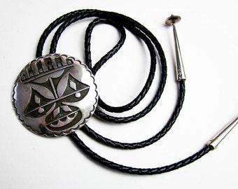 "2"" Vintage 50s Hopi Silver Overlay* Bolo Tie Mask Design, Native American Sterling Silver 925, Southwestern USA, Ex. Condition."
