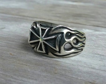 maltese cross iron cross with flames steampunk gothic punk sterling silver ring