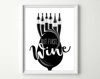 But First Wine Kitchen Decor Has Glass And Bottles Perfect As Dining Room Wall