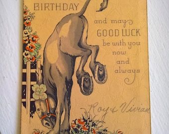 Antique Good Luck Charm Birthday Card --- Vintage Annual Wishes Special Occasion Greeting Postcard --- Retro Quaint Cottage Print Home Decor
