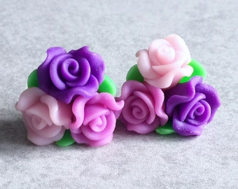 40% OFF: Bouquet of Roses Earrings - Pink, Purple and Green Polymer / Fimo Clay Beads, 25mm Flowers, Spring, Statement