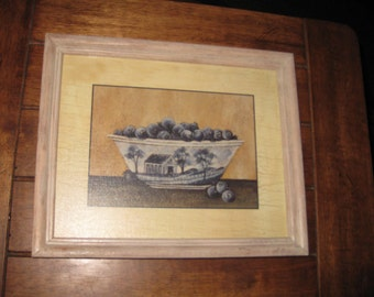 """BOWL OF BLUEBERRIES Print In Weathered Oak Frame 11"""" x 9"""" On Paper To Look Like Weathered Wood"""