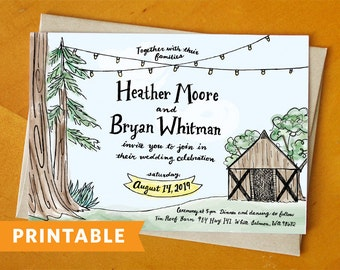 Tin Roof Barn: Printable Wedding Invitation and RSVP Card Suite - Hand Painted and Hand Drawn Wedding Invitation