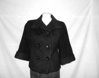 Sz 0 XS XXS Peacoat Jacket - Black - Double Breasted -  Short - 3/4 Sleeve - Size Extra Small - Petite