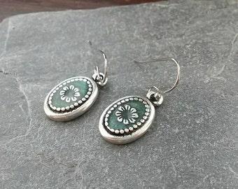 Green Enamel Earrings/Green Earrings/Silver Flowers/Flower/Daisies/Florals/Petals/Daisy Jewellery/Green Flowers/Daisy/