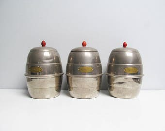 Three Vintage mid century retro chrome plated French Metal Canister Set, kitchen container jars, metal containers with lid Kitchen canister