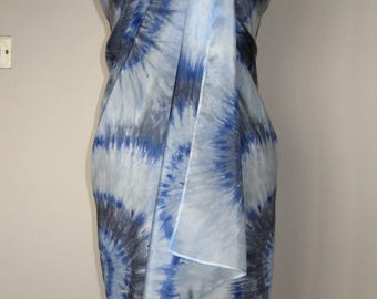 Pure Silk Sarong Pareo Scarf Shawl - Beach Cover Up – Hand Dyed, Gray and Blue